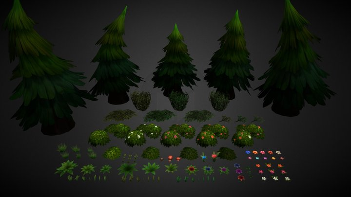 Handpainted Nature Asset Pack 3D Model