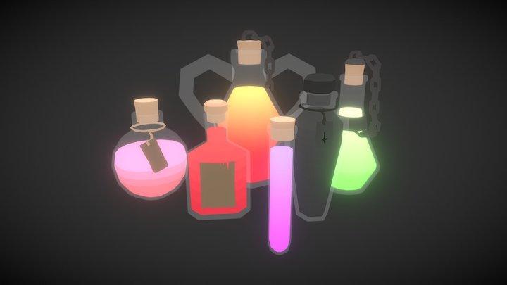 Low Poly Potion Set 3D Model