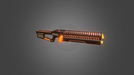 Machine Gun Low Poly 3D Model