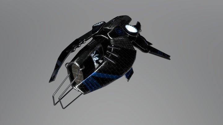 Spaceship Black Cargo 3D Model