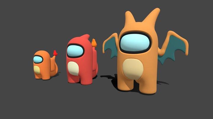 Charmander, Charmeleon, Charizard Among Us 3D Model