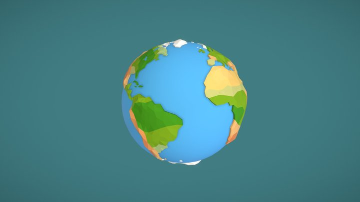 Low Poly Planet Earth 3D Model
