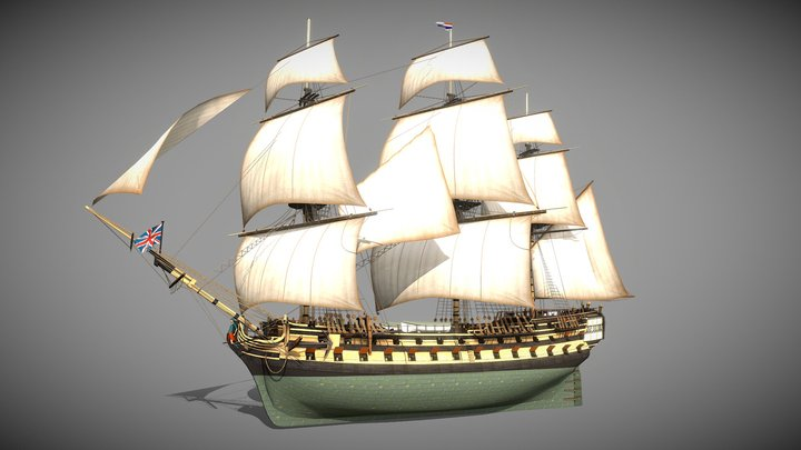 HMS Bellona (1760) 3D Model
