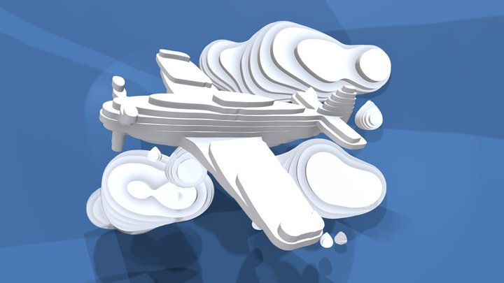 PLANE and CLOUD on blue baground 3D Model