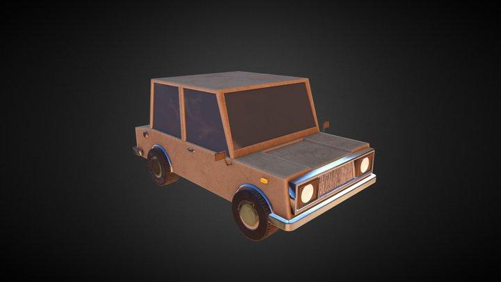 Low Poly Cartoon Car 3D Model