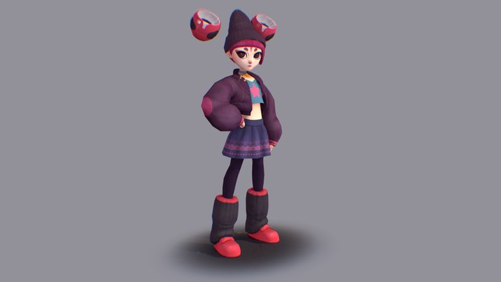 Purple Girl 3D Model