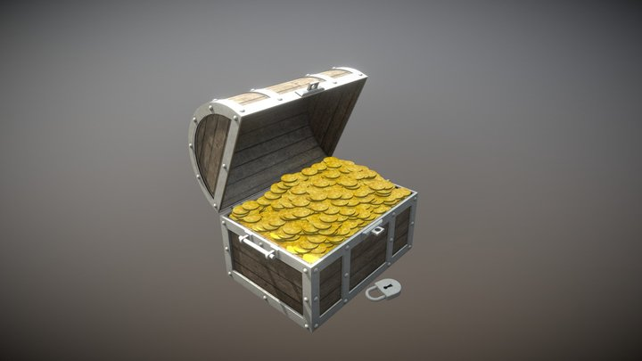 3D Chest with Gold 3D Model