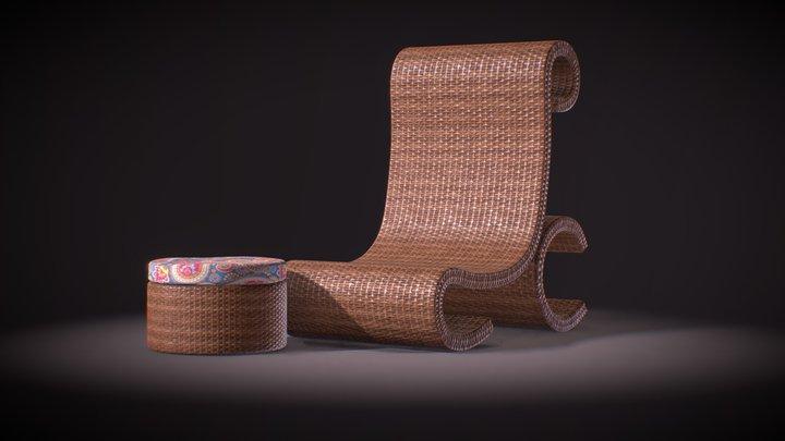 Wicker Chair Scene 3D Model