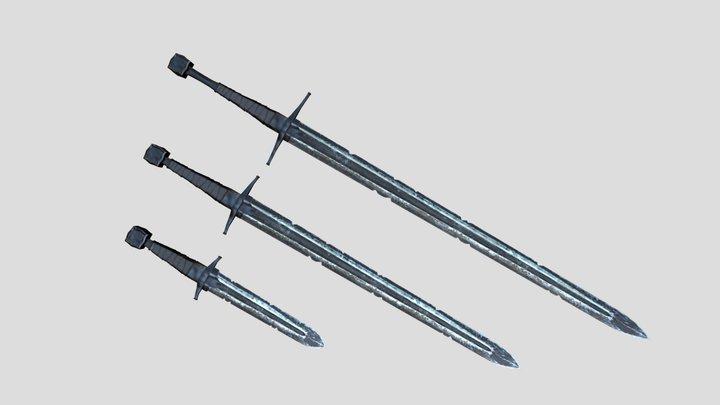 Elegant Gothic Fantasy Swords 3D Model
