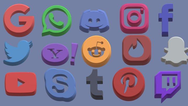 SocialMedia Icons 3D Model
