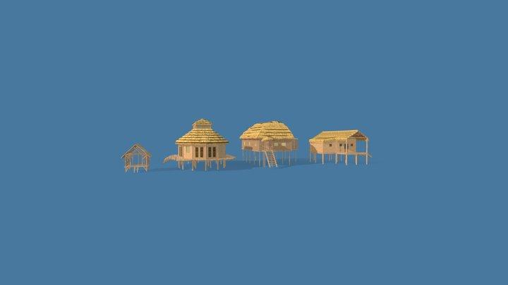Wood Buildings 3D Model