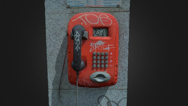Graffiti covered payphone 3D Model