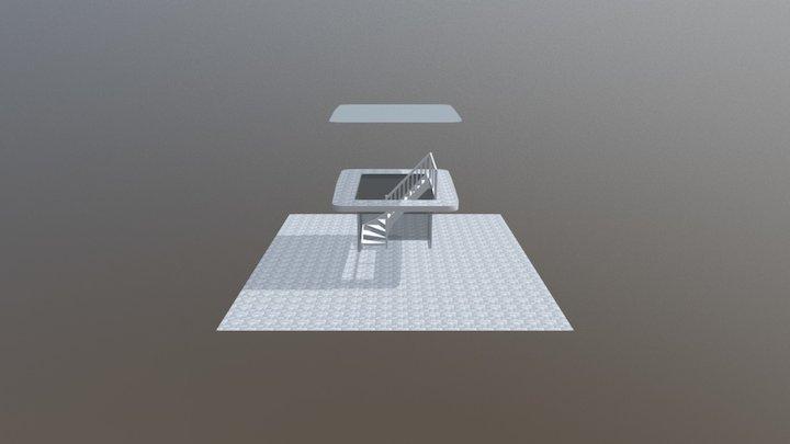 Öppen L-trappa 3D Model
