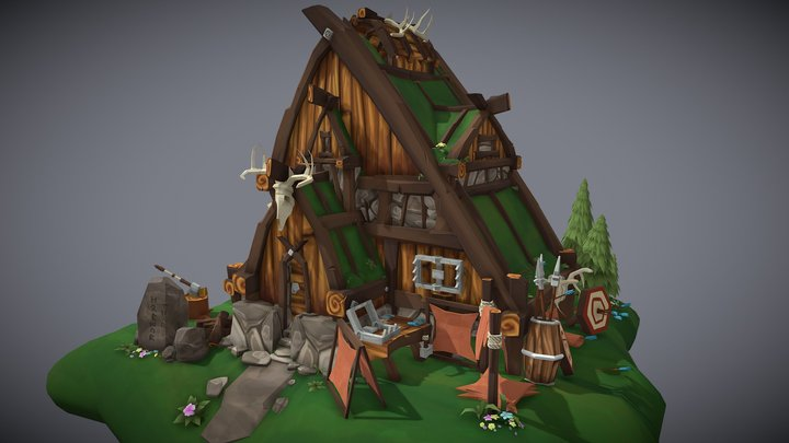 Viking Hunting Lodge 3D Model