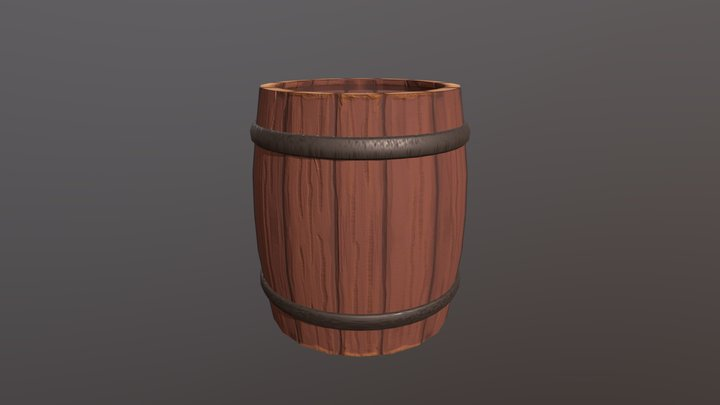 Hand Painted Barrel - low poly 3D Model