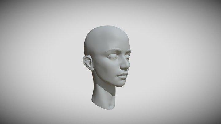 Stylized Female Head Speed Sculpt 3D Model