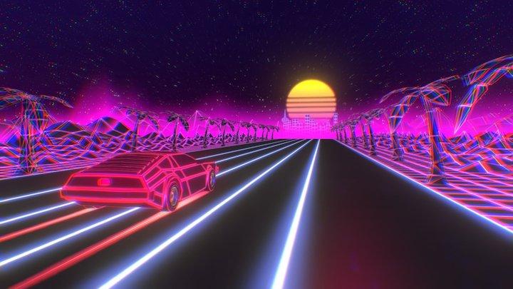 Retro Drive into the 80s 3D Model