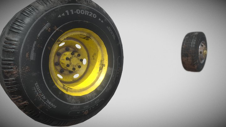 low Poly Truck Tires front and back 3D Model
