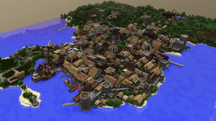 Medieval Port City 3D Model