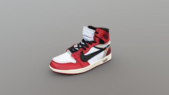 Off-White x Nike Air Jordan 1 Shoe 3D Model