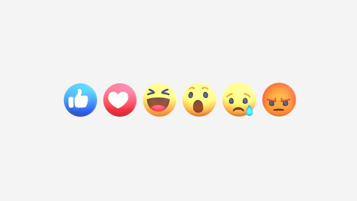 Animated Facebook Reaction Button Pack 3D Model