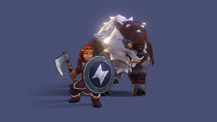 [Northgard] - Shield Maiden & Bear 3D Model