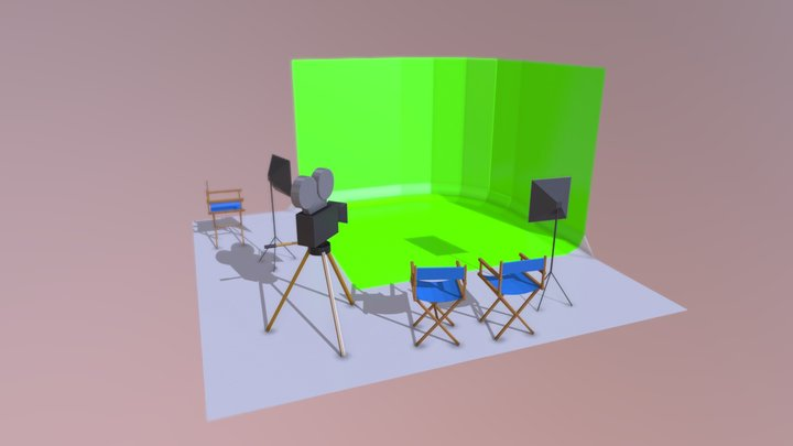 Low Poly Small Film Studio 3D Model