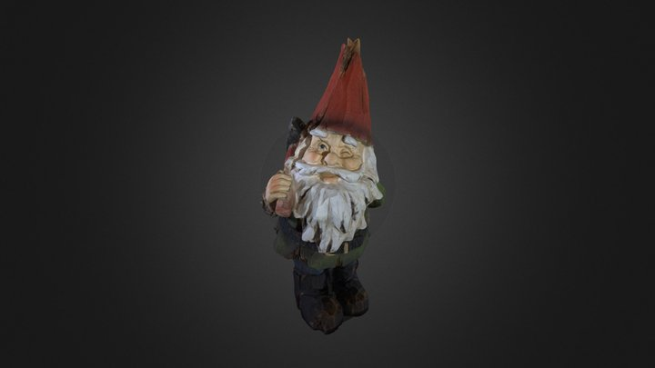 Wooden Garden Gnome 3D Model