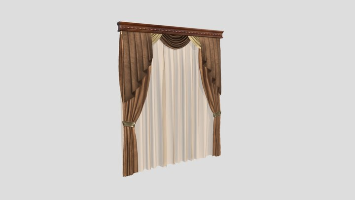 №601 Curtain  3D low poly model for VR-projects 3D Model