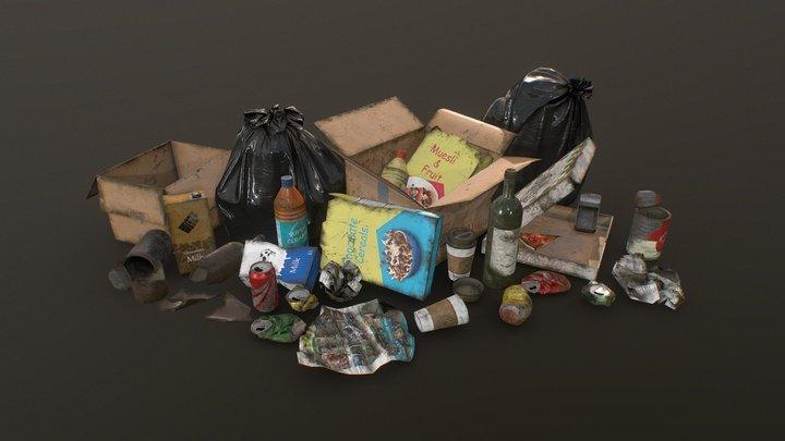 Urban Trash & Garbage Bags - Low Poly 3D Model