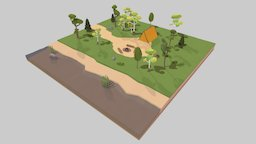 LowPoly Camping In The Woods 3D Model