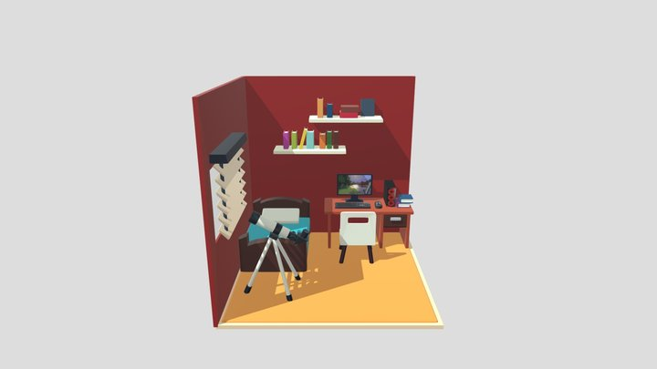 Red Bedroom 3D Model