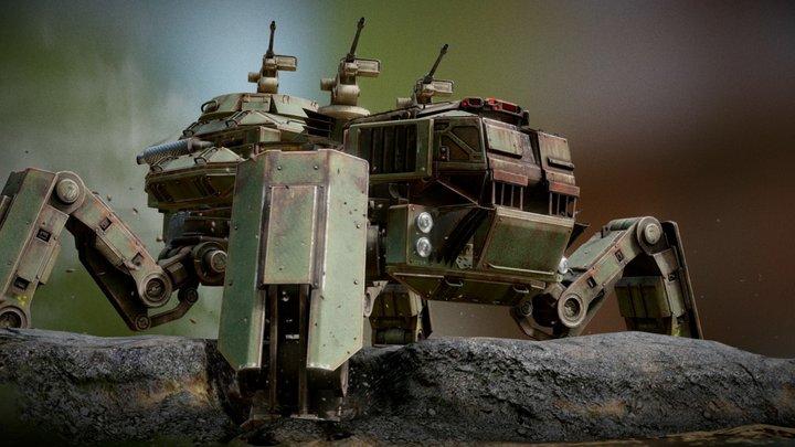 Unique armored truck 'Tarantula' 3D Model
