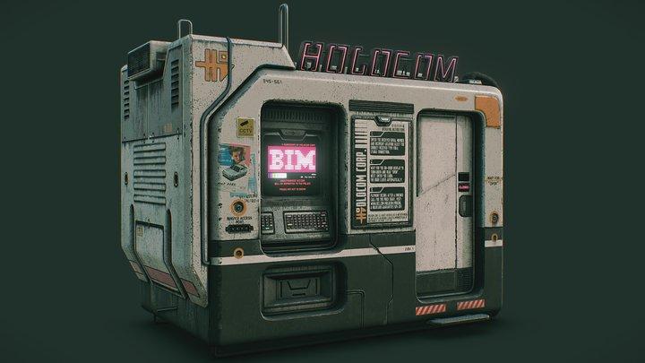 Cyberpunk Holocom Booth 3D Model