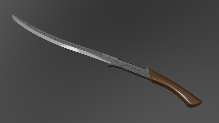 Hadhafang - Lord of the Rings Arwen's Sword 3D Model