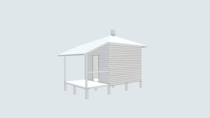 Peel Island Lazaret - Typical white male hut 3D Model