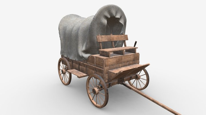 Wagon wooden covered 3D Model