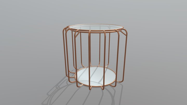 Brass circle table 3D Model
