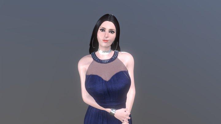 Sandra Linda Avellar In a Evening gown Dress 1 3D Model