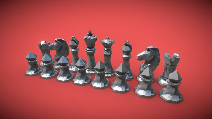 Faceted Chess Set for 3D Printing 3D Model