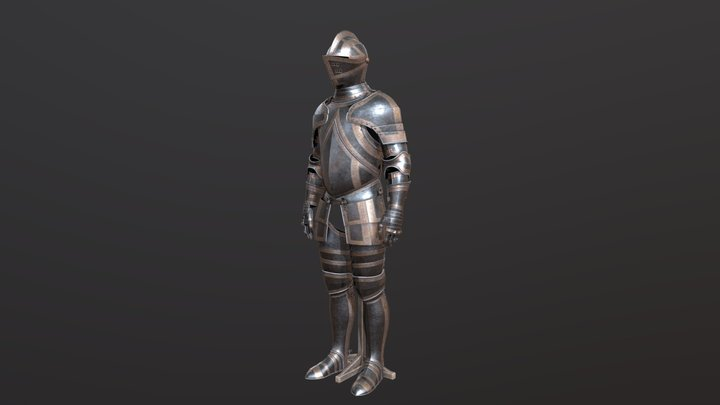 Medieval steel plate armour. 3D Model