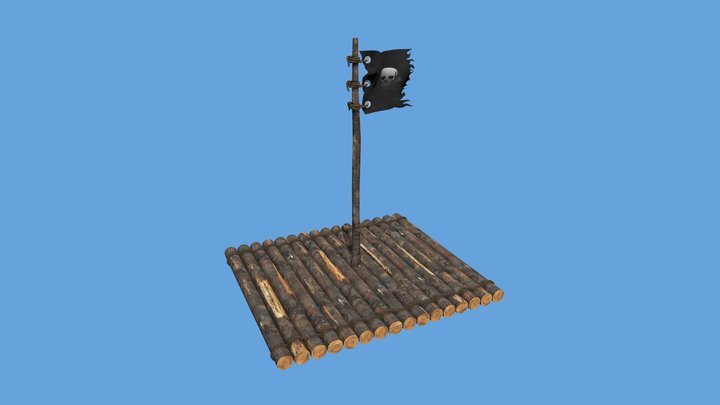 Pirate Raft with Flag 3D Model