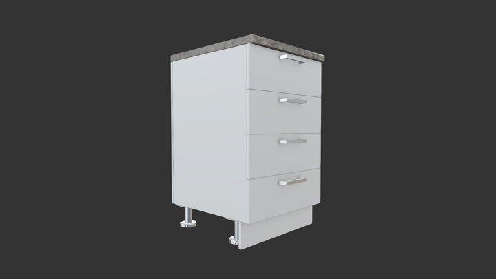 Cabinet Base Four Drawers 3D Model