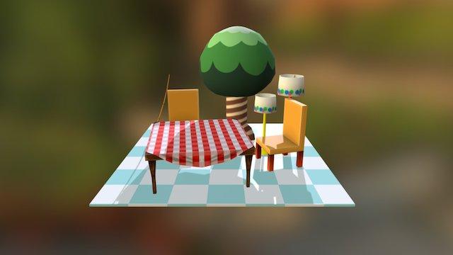 Lowpoly furniture 3D Model
