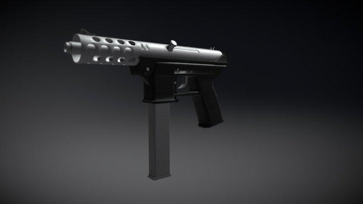 Brushed Steel TEC 9 3D Model