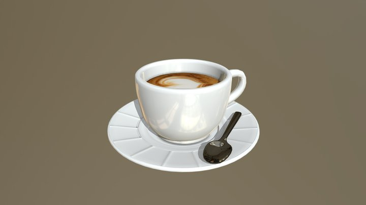 Morning coffee (low poly experemental) 3D Model