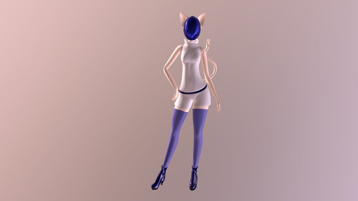 Fashionable Cat Girl 3D Model