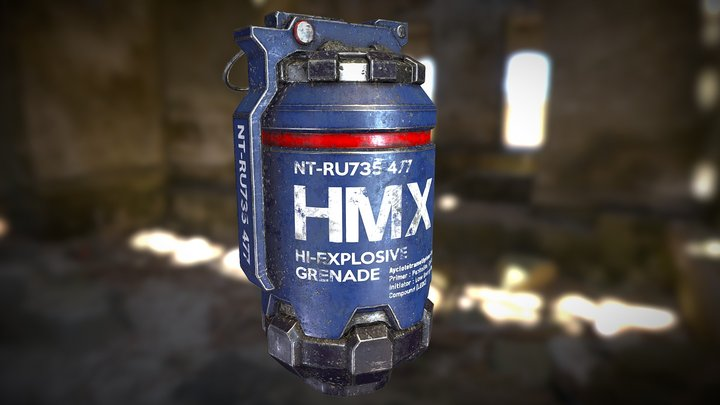 Sci Fi HMX Grenade 3D Model