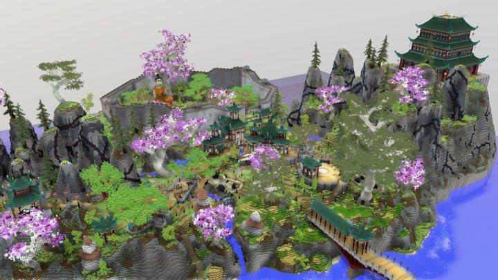 Minecraft Asian Plaza 3D Model