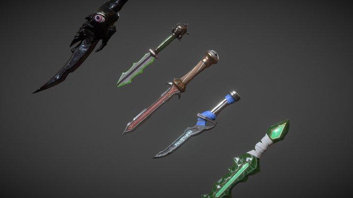 5 Fantasy Stylish Dagger 3D Model